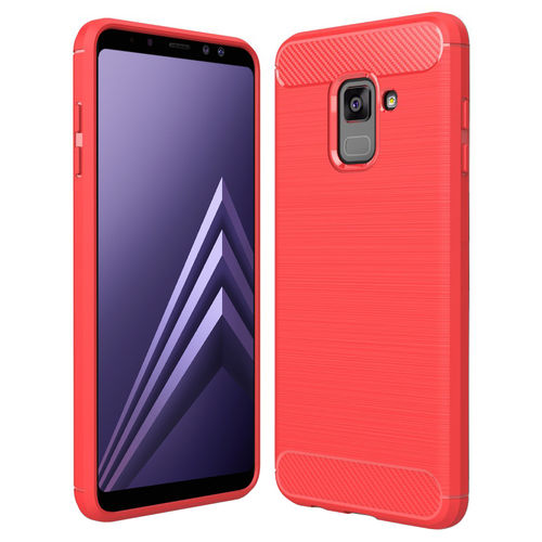 Flexi Carbon Fibre Tough Case for Samsung Galaxy A8+ (2018) - Red